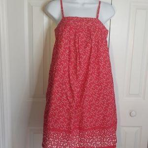 Gap Red & White Spaghetti Strap Floral Sun Dress